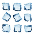 Ice cubes collection over white