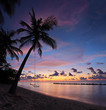 Beach with palm trees and swing at sunset, Maldives island
